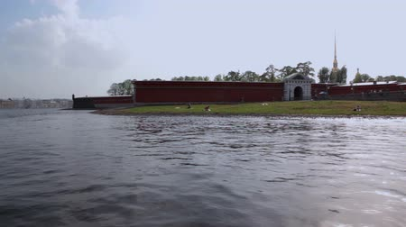 neva river : Peter and Paul Fortress Stock Footage