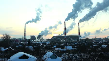 стек : Pan on industrial view at sunset - winter in Russia