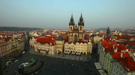 Прага : Pan on Prague central square from tower at evening