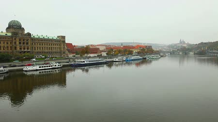 prague bridge : View on Prague from bridge over Vltava river