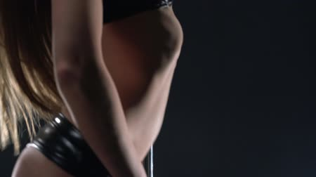 kutup : Pole dance. View of sexy dancers body, close-up