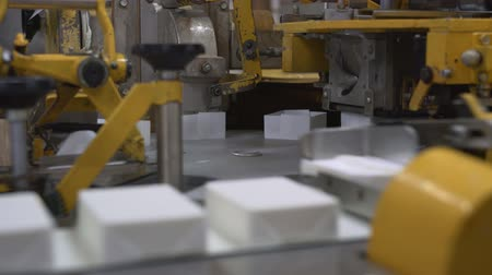 cheese packaging : Conveyor full of milk products at daity factory