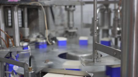 changer : Packing equipment at dairy plant Stock Footage