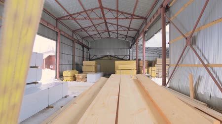 changer : Timber warehouse view Stock Footage