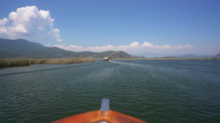 бортовой : View of Turkish vast river trip along green coasts