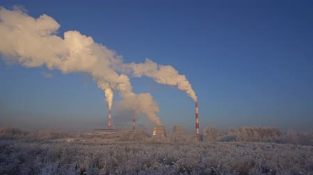Russioan winter industrial landscape view