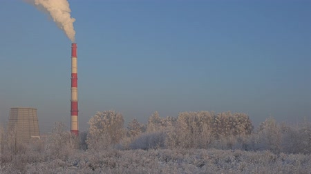 enterprise : Beautiful winter industrial landscape