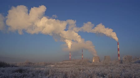 Cold winter industrial landscape view Stock Footage