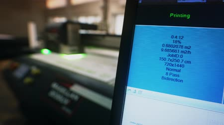 Control screen of lazer printing machine video Stock Footage