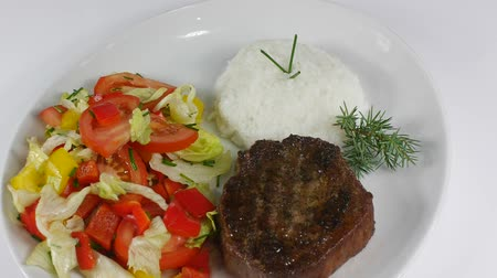 bbq grill : grilled meat with rice and vegetable