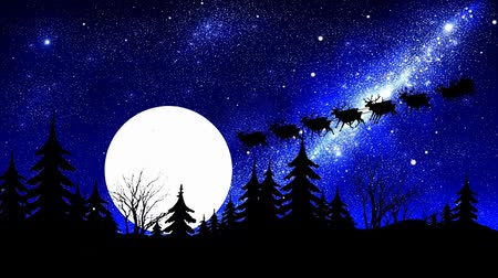 santa claus on moon background