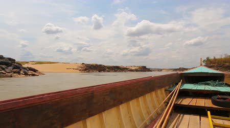 khong : Big boat for transport on Maekhong river Stock Footage