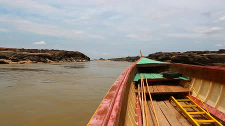 prabang : Big boat for transport on Maekhong river Stock Footage