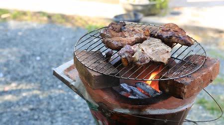 grillowanie : Bar-B-Q or BBQ with kebab cooking. coal grill