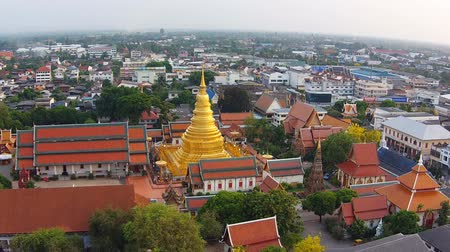 panoramic view : Aerial view shot lamphun city Stock Footage