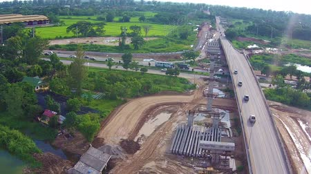 road construction : Aerial view over bridge construction site building