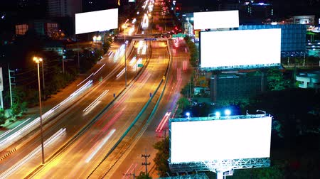 billboards : Timelapse super highway road  with white screen billboard Stock Footage