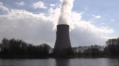 дымоход : A pond against nuclear power plant Стоковые видеозаписи