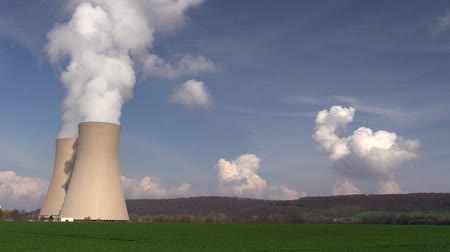 cooling tower : Nuclear station against the blue sky Stock Footage
