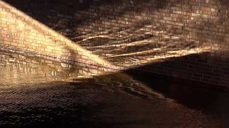 zeď : Brick wall in running water and the sunbeam
