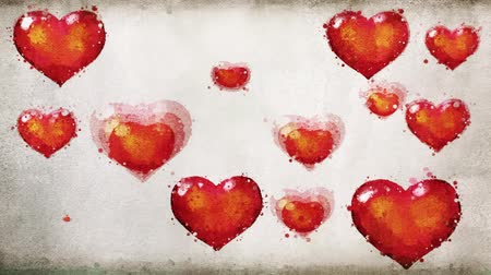 kívánságait : Watercolor hearts on vintage old paper background