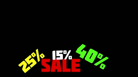 rentável : 50% OFF Sale Promo Banner Special Offer. Sales promotional animation video with the inscription Sale. Discount announcement, animated cartoon text Sale, 15, 25, 40, 50% for sales and promotions. Black background, shape animation text