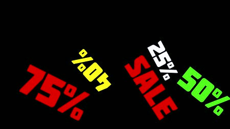 procent : 75% OFF Sale Promo Banner Special Offer. Sales promotional animation video with the inscription Sale. Discount announcement, animated cartoon text Sale, 25%, 40%, 50%, 75% for shopping sales and promotions. Black background, shape animation text