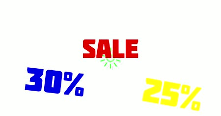 duyuru : 30% and 25% OFF Sale Promo Banner Special Offer. Sales promotional animation video with the inscription Sale. Discount announcement, animated cartoon text Sale, 25% and 30% for sales and promotions. White background, shape animation text Stok Video