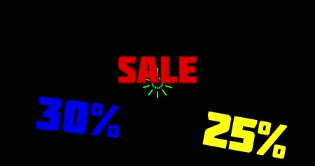 rentável : 30% and 25% OFF Sale Promo Banner Special Offer. Sales promotional animation video with the inscription Sale. Discount announcement, animated cartoon text Sale, 25% and 30% for sales and promotions. Black background, shape animation text Vídeos
