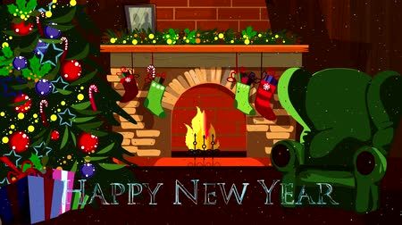appear : New years picture is going from whirling pieces - a room with a fireplace in which a fire burns, an armchair and a Christmas tree with gifts, multicolored glittering confetti is falling. Inscription Happy New Year appears