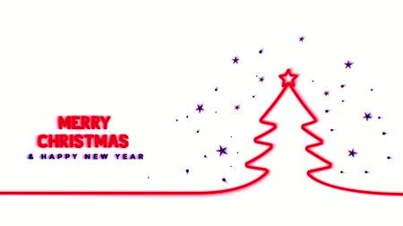 appear : Red line appears on a white background that draws a Christmas tree, the top of which is decorated with a star, the inscription Marry Christmas Happy New Year appears in red and blinks. Stars are visible around the Christmas tree
