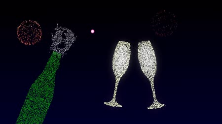 chime : New years midnight, chime clock strike twelve, champagne opens, glasses clink, multi-colored fireworks explode in the night sky, the inscription Happy New Year appears.