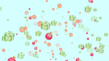 Levitating 3D Christmas gift boxes with white ribbon bow on light blue background. Sweets, candies and Christmas toys flying around. Looped festive New Year greeting card. Cycled animation, seamless motion design
