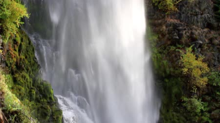 descobrir : section of mill creek falls in Oregon with cascading water over the rock cliff