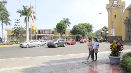 Streets of Peru in the district of Barranco, Down town square and church. Stock mozgókép