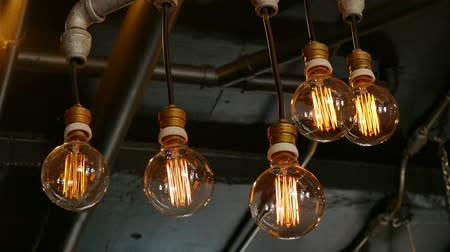 light : light bulbs in the restaurant Stock Footage