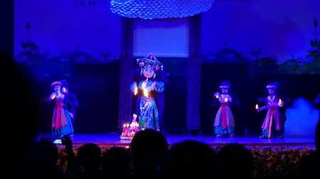 water puppet : HANOI  VIETNAM OCTOBER 10 2015 :Puppet show in The 4th international marionette festival ha noi 2015 14 Puppetry Troupes from 10 countries brought to the festival fantastic performances reflecting their countries cultural uniqueness on October 10-16 2015, Stock Footage