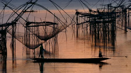 fishermen : Asia Fishermen in the early morning golden light casting sow net fish at Klong Pak Para, a wetland, Phatthalung, Thailand. Stock Footage