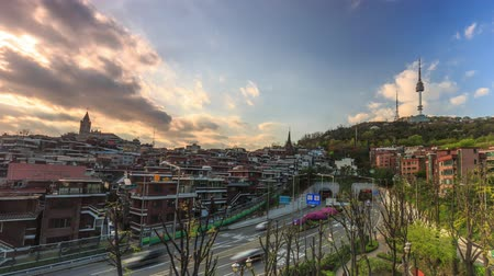 4K Time lapse of Seoul Tower in Seoul City at Sunset, South Korea, 20 April 2015
