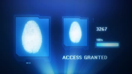 parmak izi : Fingerprint scan projection with access granted