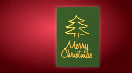 деревья : Animated blank christmas card with santa and reindeers  Стоковые видеозаписи