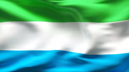 sierra leone flag : Textured SIERRA LEONE cotton flag with wrinkles and seams