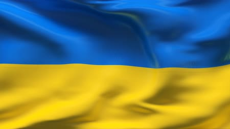 Украина : Creased UKRAINE flag in wind - slow motion