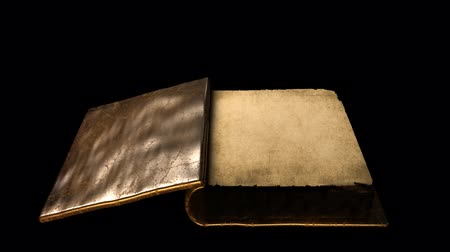 página : Very old gold magic book with flipping pages