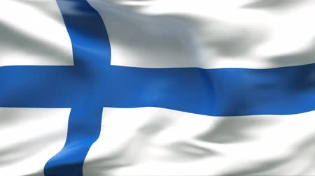 finlandês : Creased satin FINLAND flag in wind in slow motion