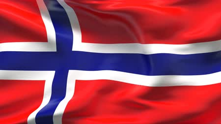 red symbol : Creased satin NORWAY flag in wind in slow motion  Stock Footage