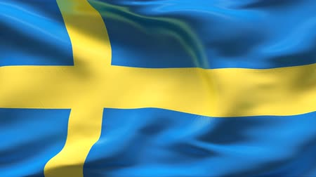 Швеция : Creased satin SWEDEN flag in wind in slow motion