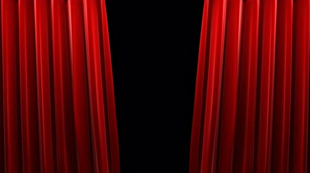 stage theater : Red velvet theater curtain with alpha channel  Stock Footage