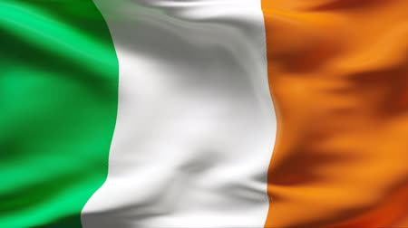 irlandia : Creased satin IRELAND flag in wind in slow motion  Wideo