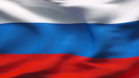rusya : Creased satin RUSSIA flag in wind in slow motion